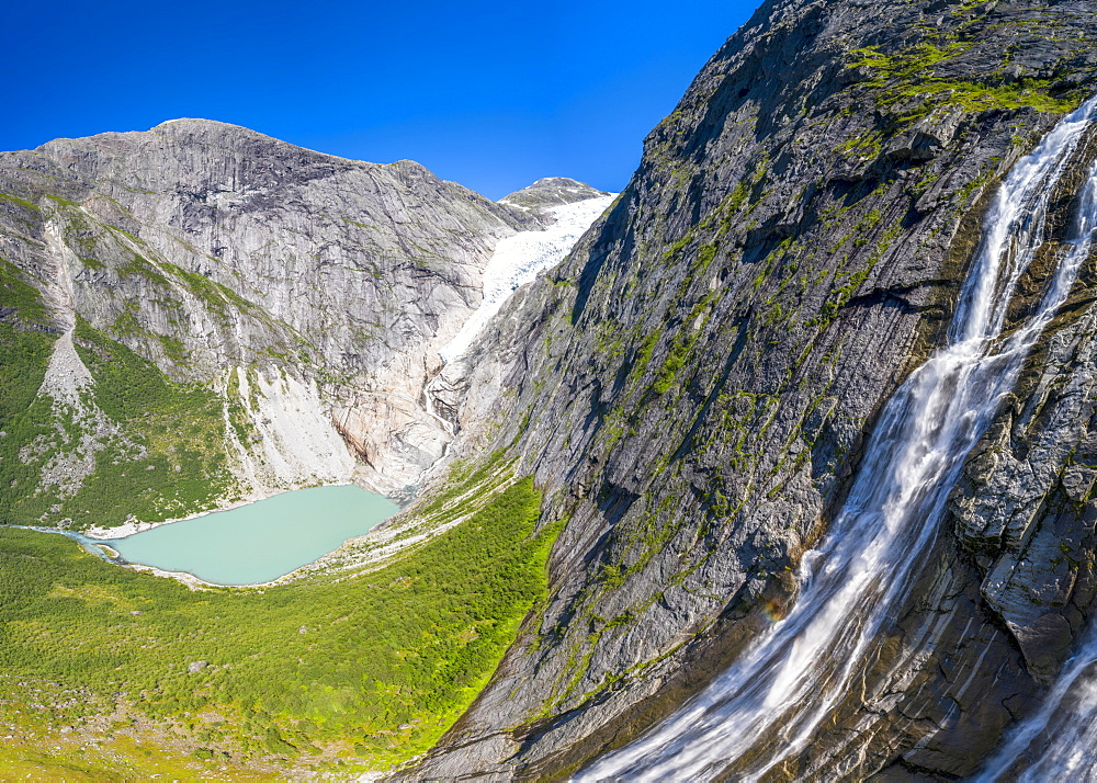Aerial panoramic by drone of waterfall above Briksdalsbreen glacier, Loen, Jostedalsbreen National Park, Sogn og Fjordane, Norway, Scandinavia, Europe - 1179-4068