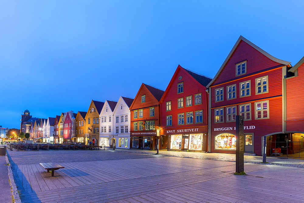 Illuminated timber buildings at dusk, Bryggen, UNESCO World Heritage Site, Bergen, Hordaland County, Norway, Scandinavia, Europe - 1179-4099