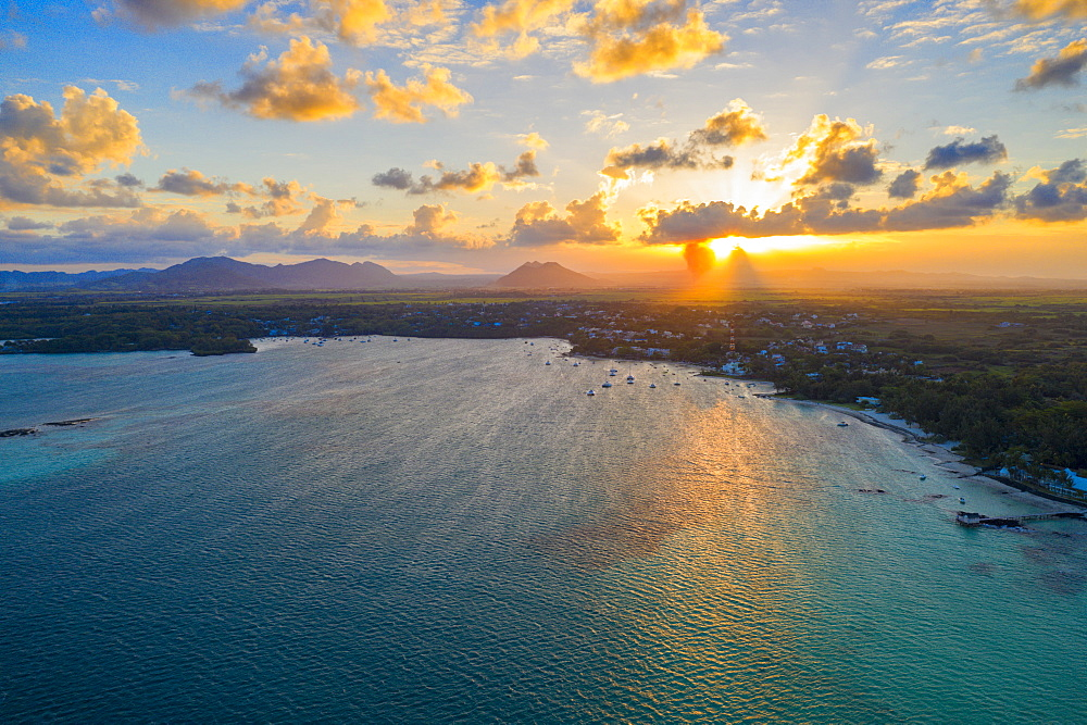 Sunset over Trou d'Eau Douce bay, aerial view, Flacq district, East coast, Mauritius, Indian Ocean, Africa - 1179-4110