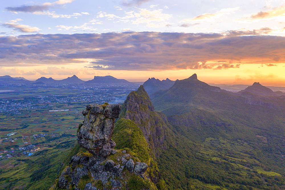 Le Pouce mountain during the african sunset, aerial view, Moka Range, Port Louis, Mauritius