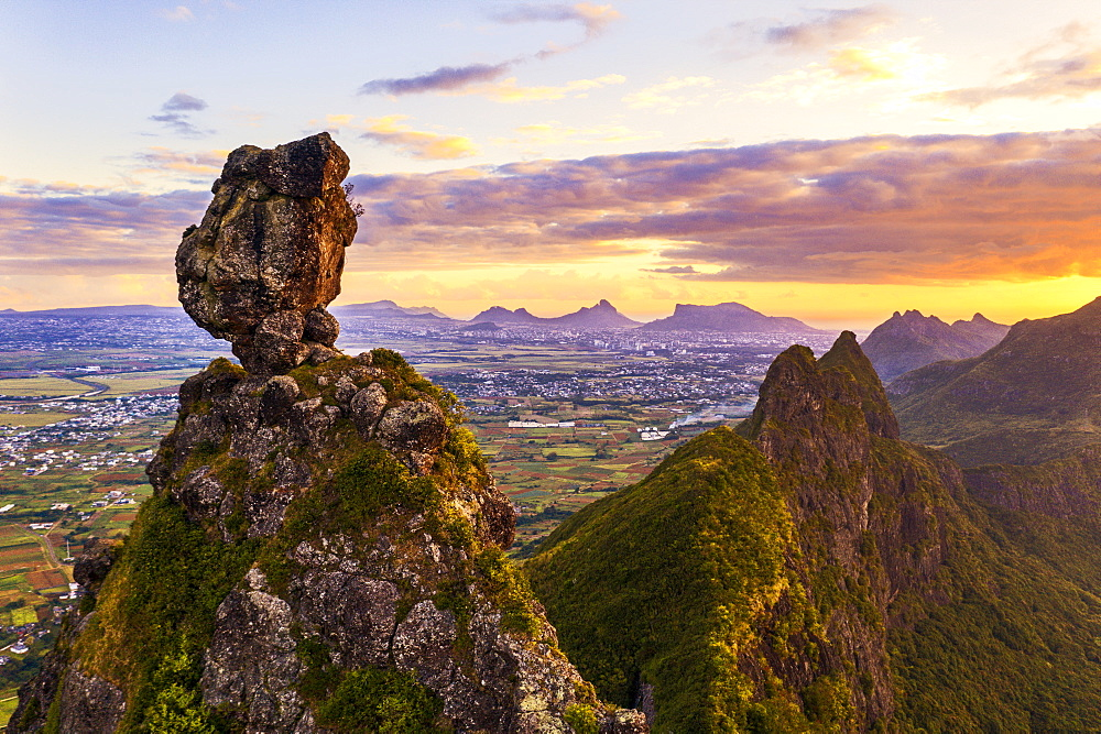 Pieter Both and Le Pouce mountain lit by the african sunset, aerial view, Moka Range, Port Louis, Mauritius, Africa - 1179-4131
