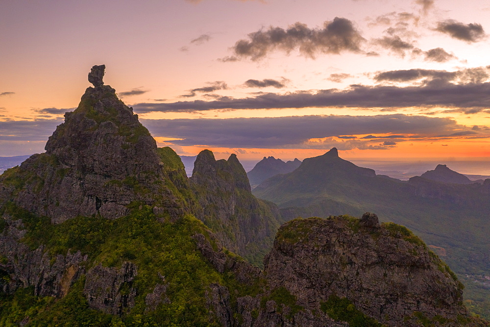 Le Pouce mountain at sunset, aerial view, Moka Range, Port Louis, Mauritius, Africa