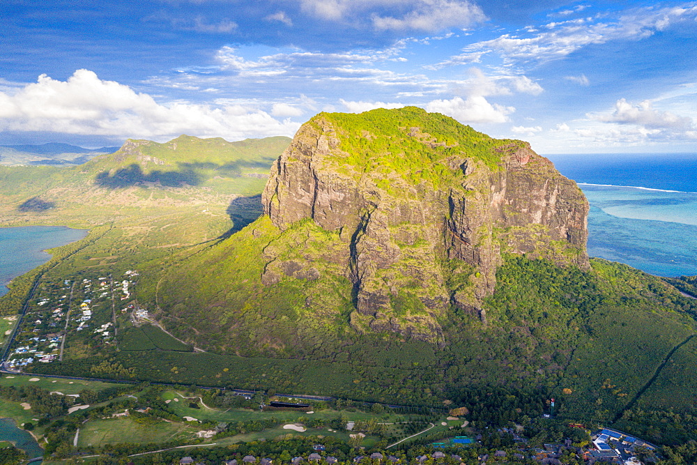 Aerial view of the majestic mountain overlooking the ocean, Le Morne Brabant peninsula, Black River, Mauritius, Indian Ocean, Africa