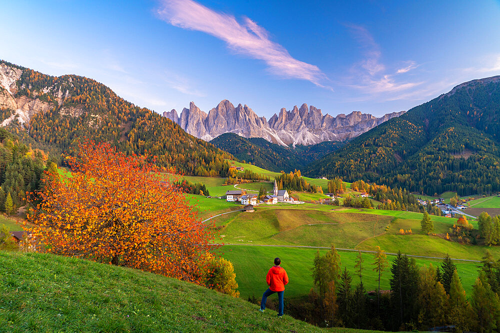 Rear view of man admiring the Odle peaks and little village of Santa Magdalena in autumn, Funes, Dolomites, South Tyrol, Italy