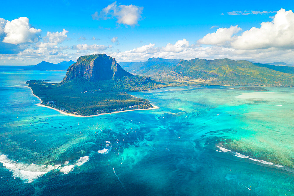 Aerial view of Le Morne Brabant and the Underwater Waterfall optical illusion and natural phenomena, Indian Ocean, Mauritius