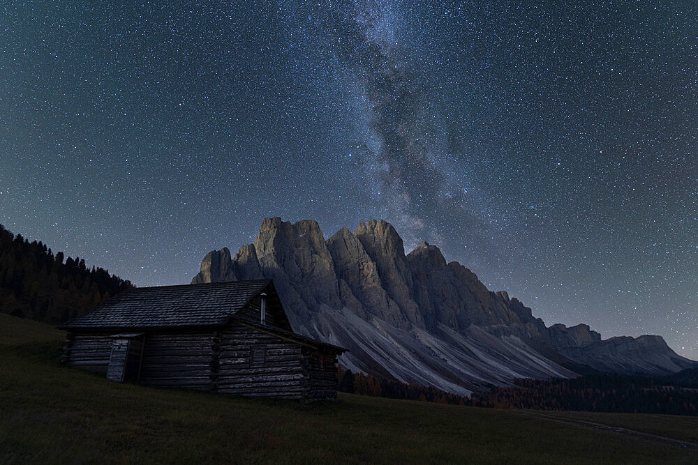 Milky Way over the Odle group seen Gampen Alm, Funes Valley, Dolomites, Bolzano province, South Tyrol, Italy