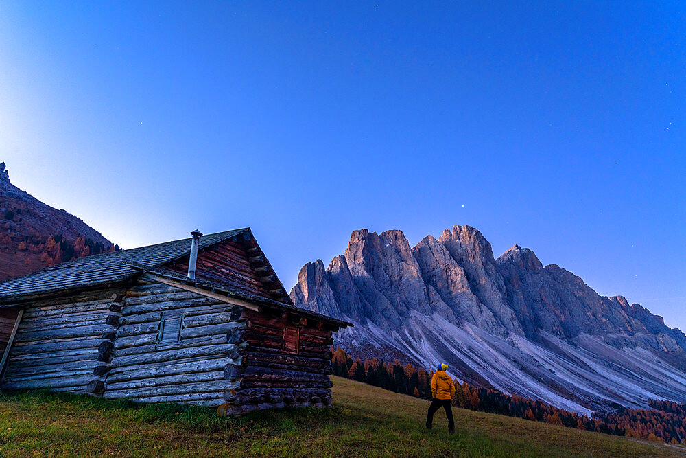 Man outside a hut admiring the Odle at sunrise, Gampen Alm, Funes Valley, Dolomites, Bolzano province, South Tyrol, Italy