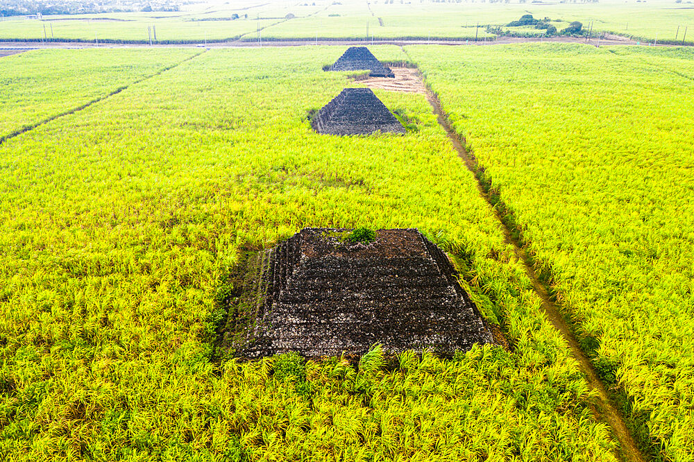 Aerial view by drone of mysterious pyramids in green fields, Plaine Magnien, Grand Port, Mauritius, Indian Ocean, Africa