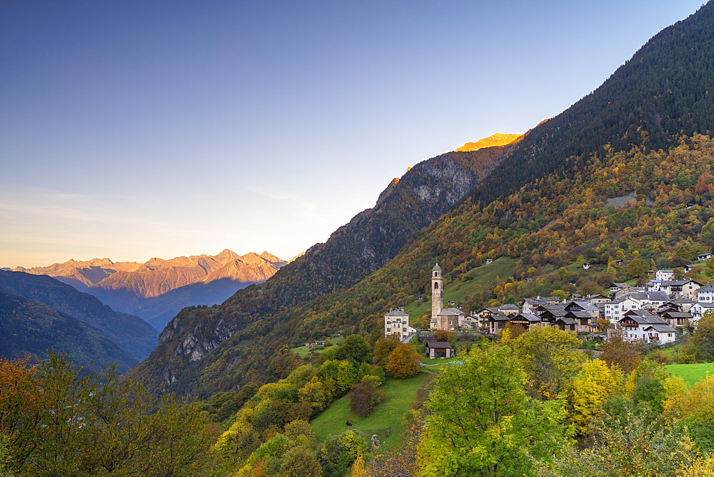 Alpine village of Soglio during autumn, Val Bregaglia, Canton of Graubunden, Switzerland, Europe