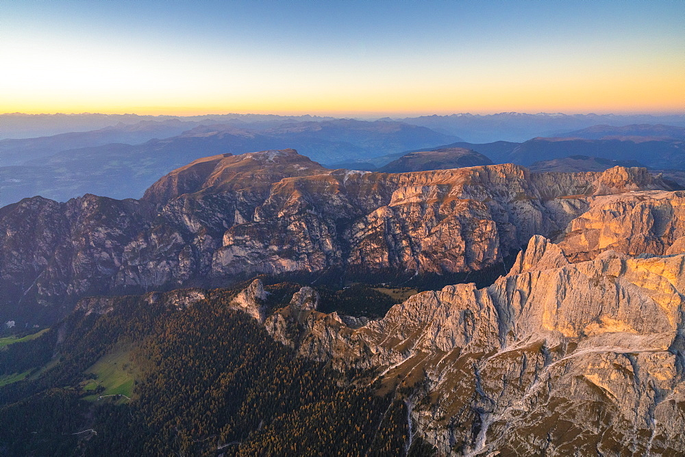 Aerial view of sunset over Tires Valley in autumn, Dolomites, South Tyrol, Italy, Europe