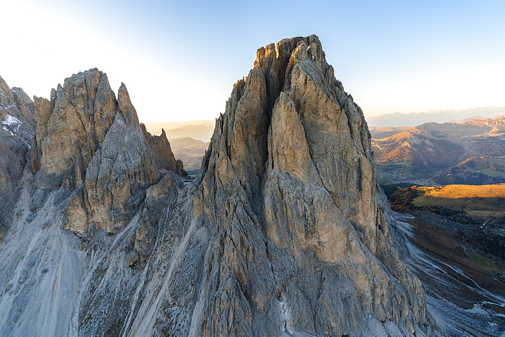 Aerial view of Rifugio Toni Demetz hut on top of Forcella del Sassolungo, Val Gardena, Dolomites, South Tyrol, Italy