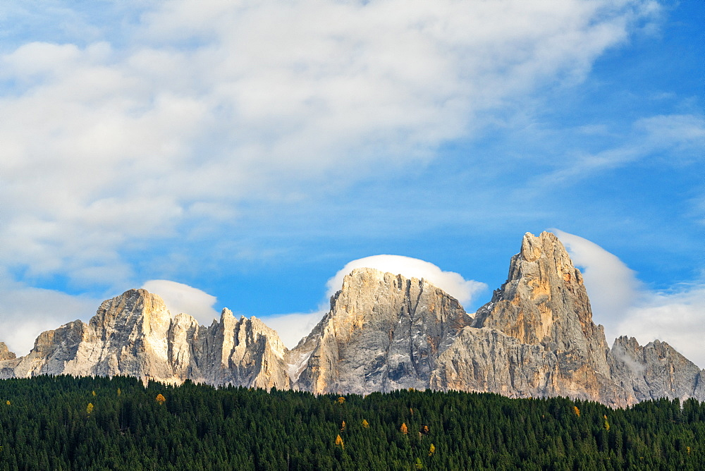 Majestic Pale di San Martino (Pala group) surrounded by woods in autumn, Rolle Pass, Dolomites, Trentino, Trento, Italy, Europe