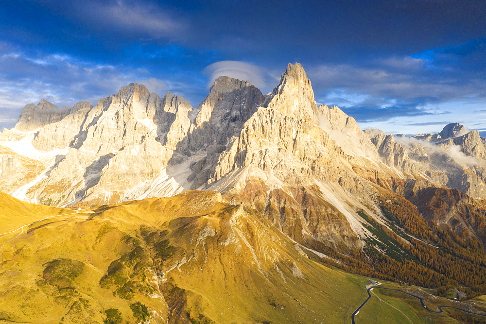 Aerial view of Cimon della Pala during the autumn sunset, Pale di San Martino, Rolle pass, Dolomites, Trentino, Trento, Italy