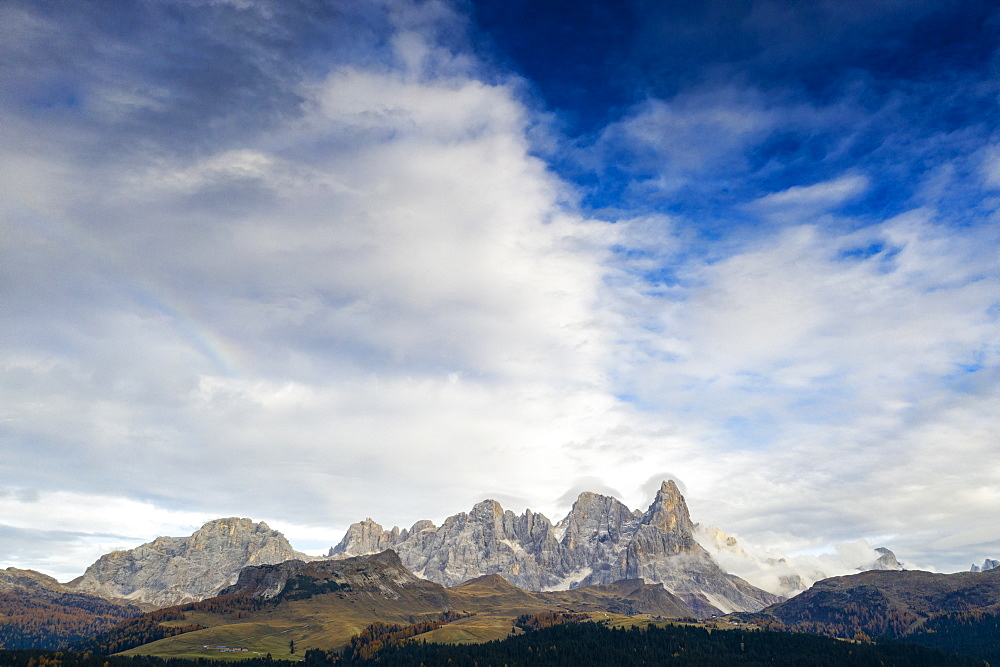 Aerial view of Cimon della Pala, Pale di San Martino (Pala group), Rolle Pass, Dolomites, Trentino, Trento, Italy, Europe