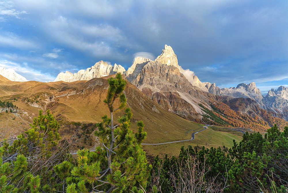 Sunset over Rolle Pass and Cimon della Pala in autumn, Pale di San Martino (Pala group), Dolomites, Trentino, Trento, Italy