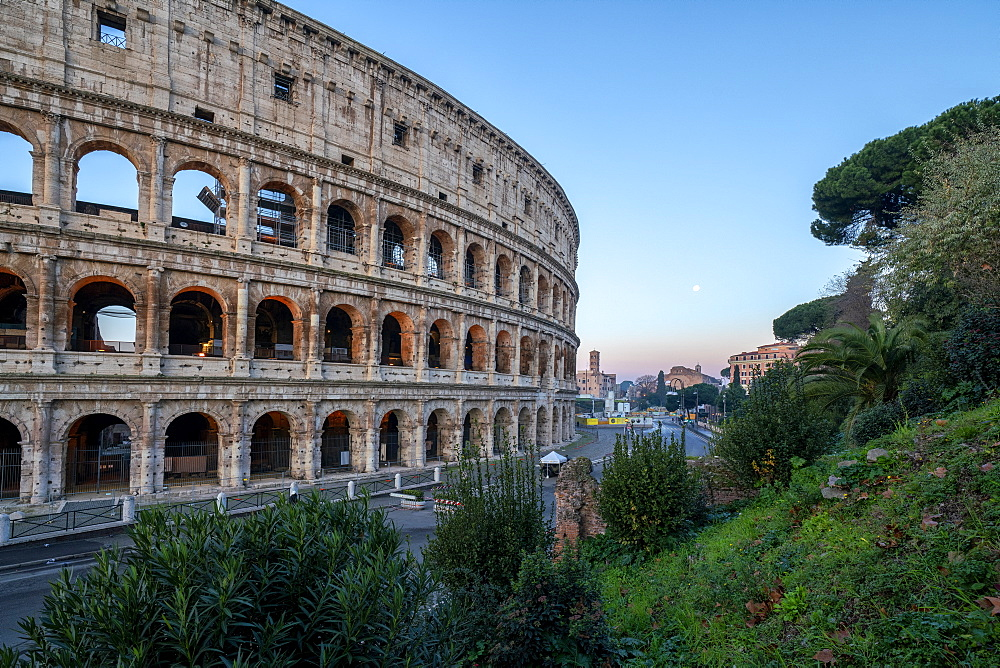 Colosseum at sunrise, UNESCO World Heritage Site, Rome, Lazio, Italy, Europe