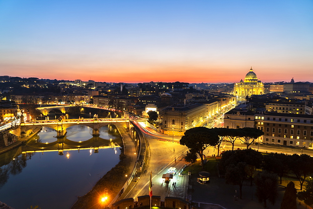 River Tiber and St. Peter's Basilica (Basilica di San Pietro) from Castel Sant'Angelo at dawn, Vatican City, Rome, Lazio, Italy, Europe