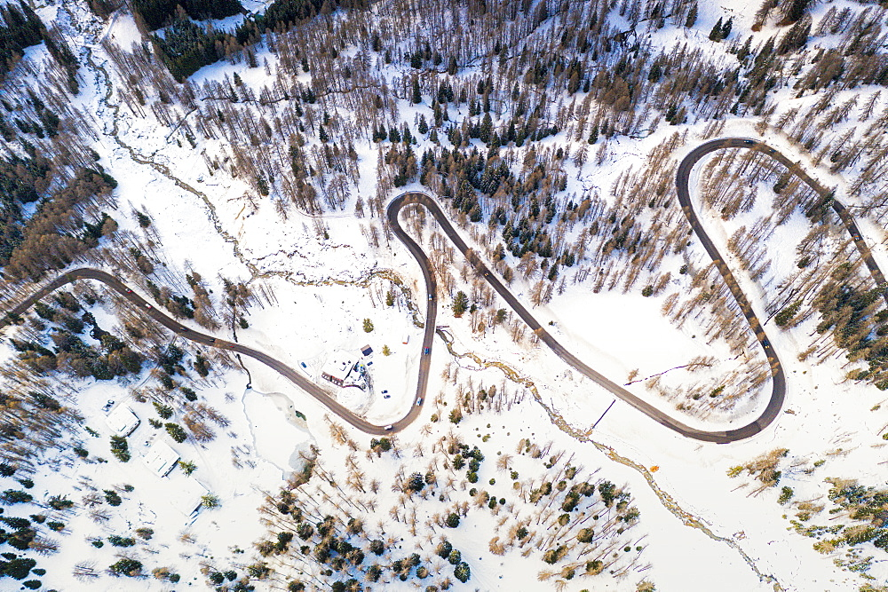 Aerial view of hairpin bends of mountain road through snowy woods, Passo Tre Croci, Dolomites, Belluno province, Veneto, Italy, Europe