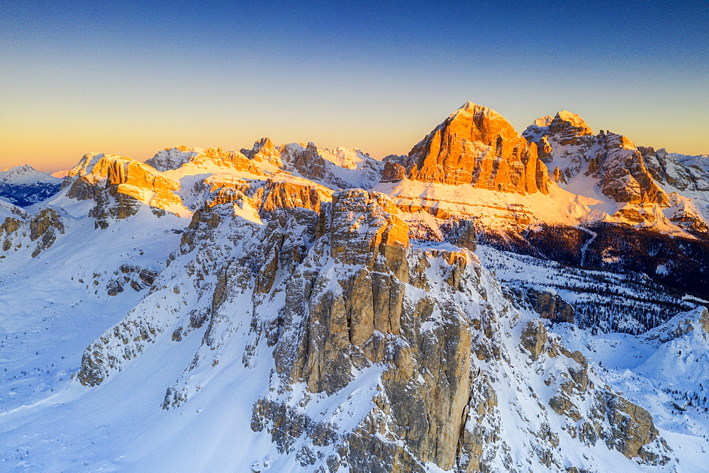 Aerial view by drone of snow capped Ra Gusela, Nuvolau, Averau and Tofane, Giau Pass, Dolomites, Belluno province, Veneto, Italy, Europe