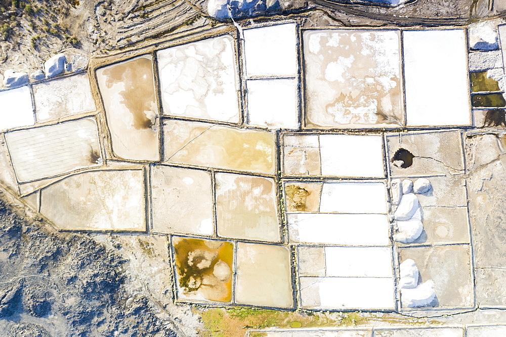 Salt tanks from above, Lake Afrera (or Lake Afdera), Danakil Depression, Afar Region, Ethiopia, Africa