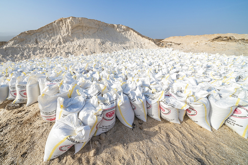 Salt bags in the salt mine of Lake Afrera (Lake Afdera), Danakil Depression, Afar Region, Ethiopia, Africa