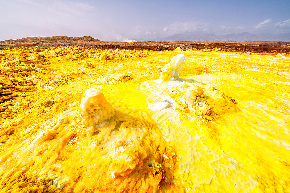 Yellow acid sulphur sediments in the thermal area of Dallol, Danakil Depression, Afar Region, Ethiopia, Africa