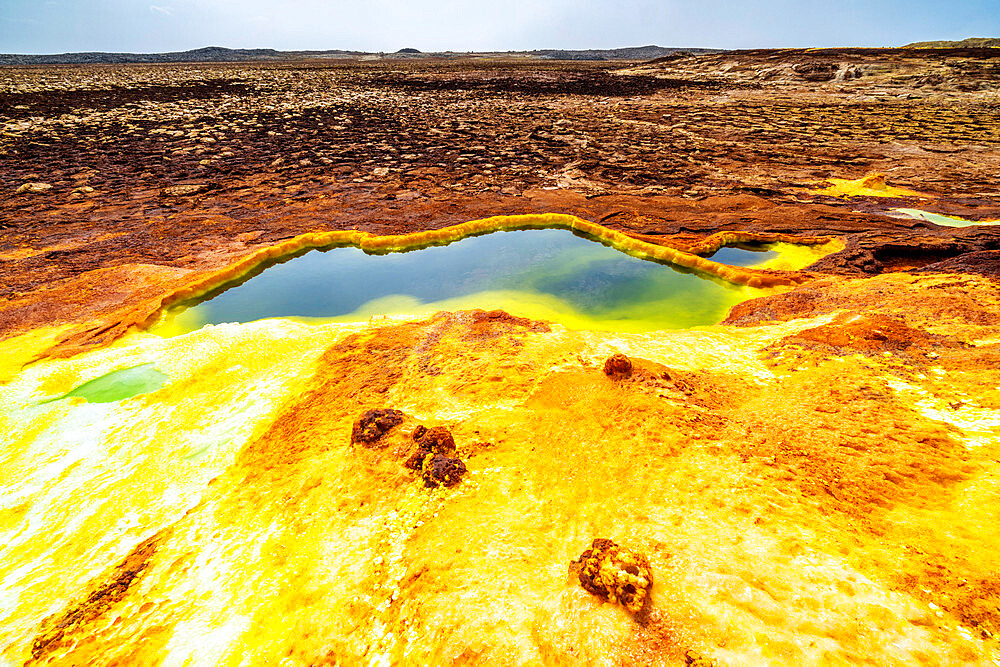 Sulphur acid hot springs, Dallol, Danakil Depression, Afar Region, Ethiopia, Africa