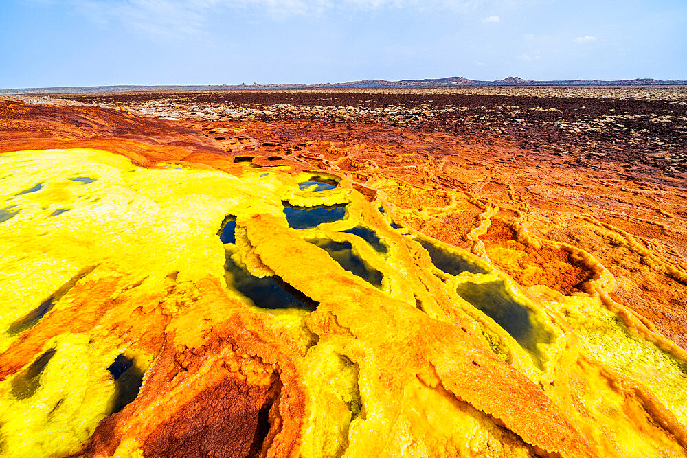 Sulfuric acid hot springs, Dallol, Danakil Depression, Afar Region, Ethiopia, Africa
