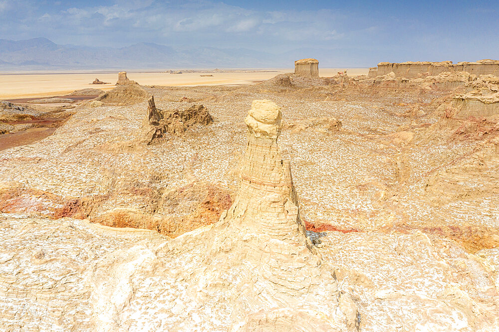 Aerial view of Salt Mountains of Dallol, Danakil Depression, Afar Region, Ethiopia, Africa