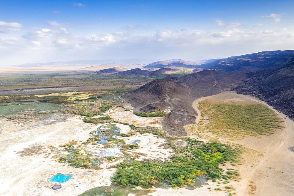 Aerial view by drone of Ala Lobet (Alol Bet) geyser and volcanic landscape, Semera, Afar Region, Ethiopia, Africa