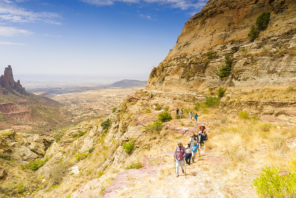 Ethiopian guides with tourists hiking to Gheralta Mountains, Tigray Region, Ethiopia, Africa