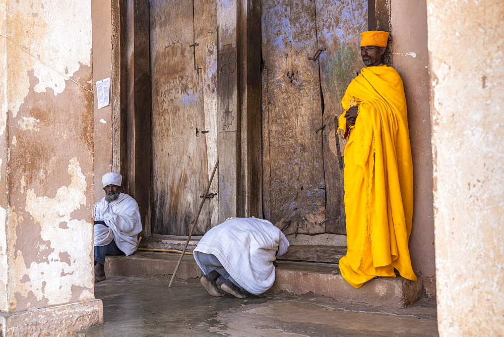 Ethiopian Orthodox priests praying, Abreha We Atsbeha church, Tigray Region, Ethiopia, Africa