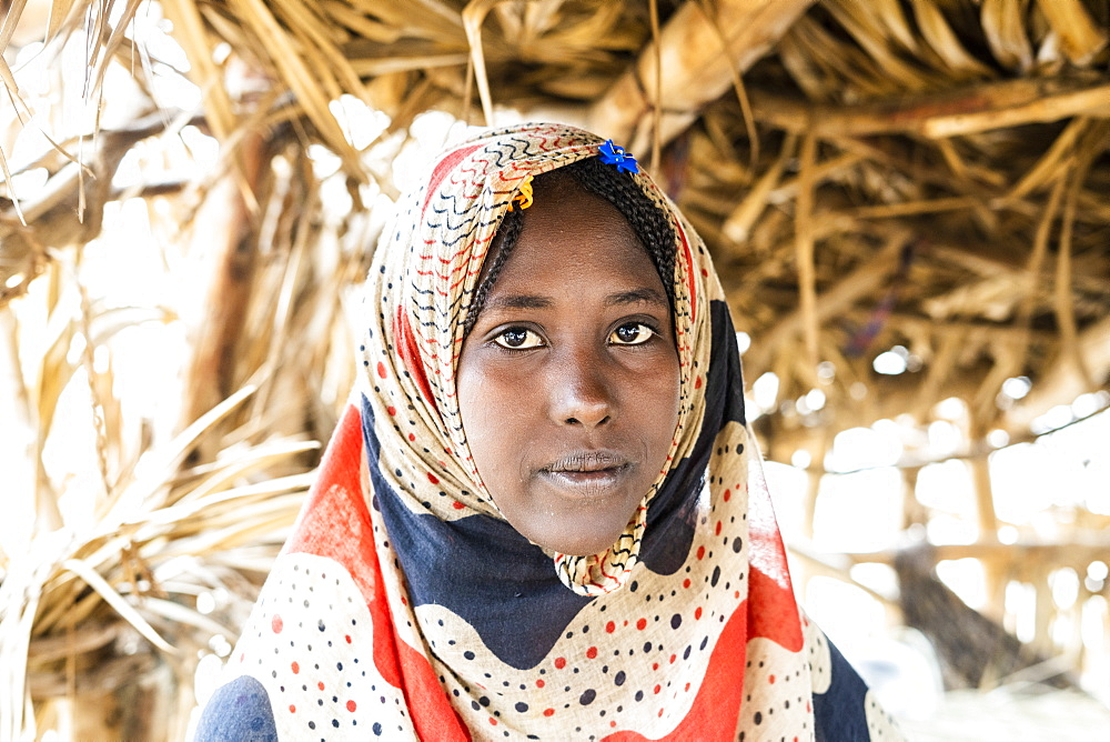 Portrait of woman wearing Muslim traditional Hijab, Melabday, Asso Bhole, Danakil Depression, Afar Region, Ethiopia, Africa