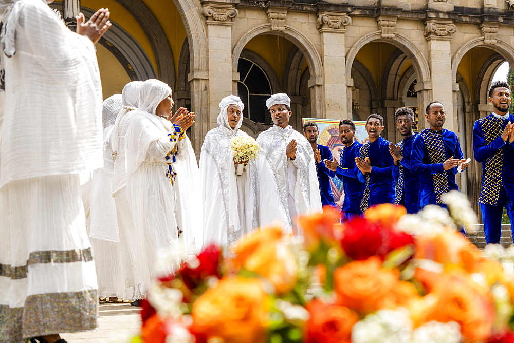 People of Orthodox congregation singing together during a religious service, Holy Trinity Cathedral, Addis Ababa, Ethiopia, Africa