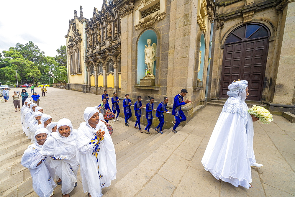 Men and women with traditional clothes during a religious celebration, Holy Trinity Cathedral, Addis Ababa, Ethiopia, Africa