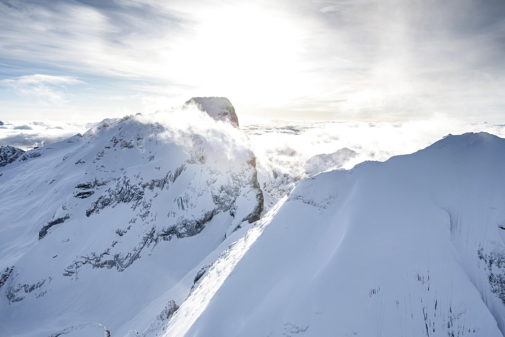 Aerial view of Punta Penia and west ridge of Marmolada in winter, Dolomites, Trentino-Alto Adige, Italy - 1179-4523