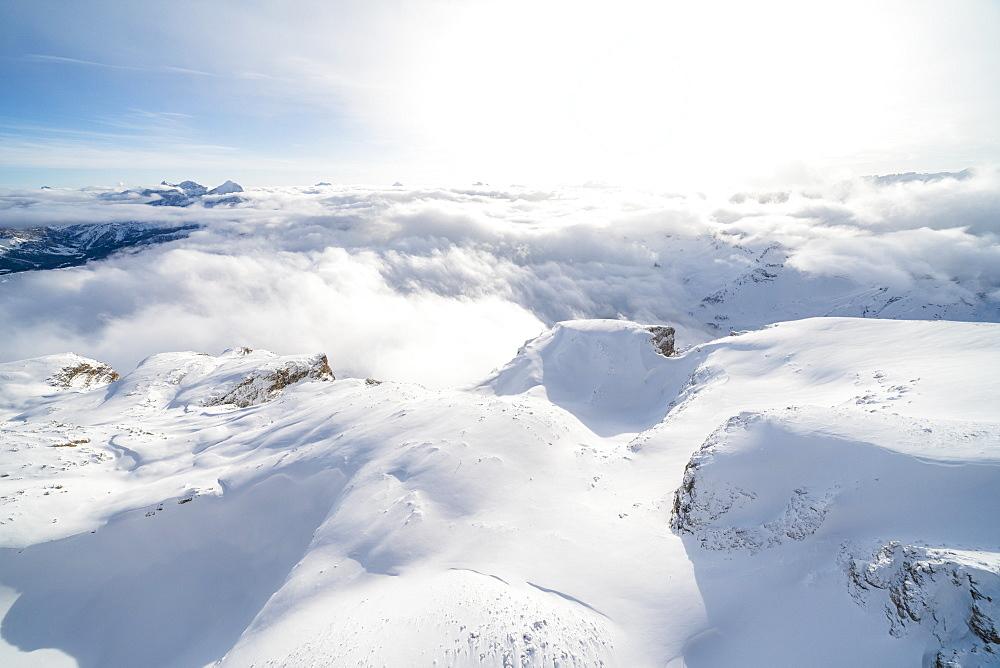 Aerial view of Sass Pordoi covered with snow, Sella group, Dolomites, Trentino-Alto Adige, Italy, Europe
