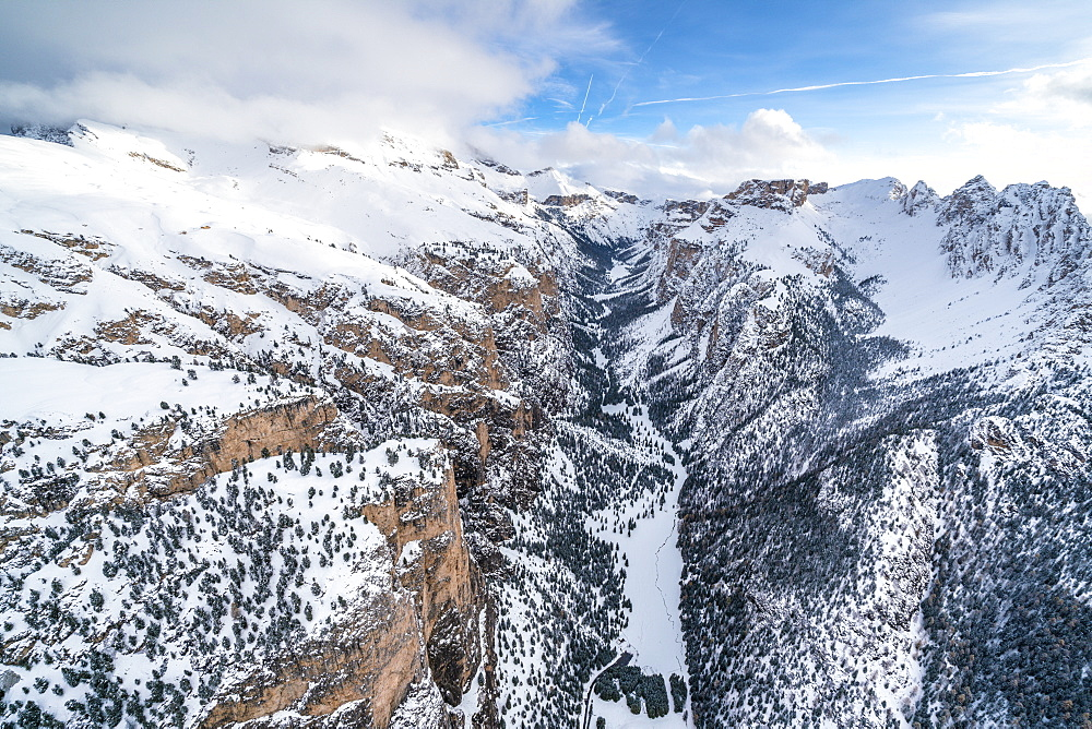 Aerial view of Vallunga, Monte Stevia and Cir group in winter, Val Gardena, Dolomites, Trentino-Alto Adige, Italy, Europe