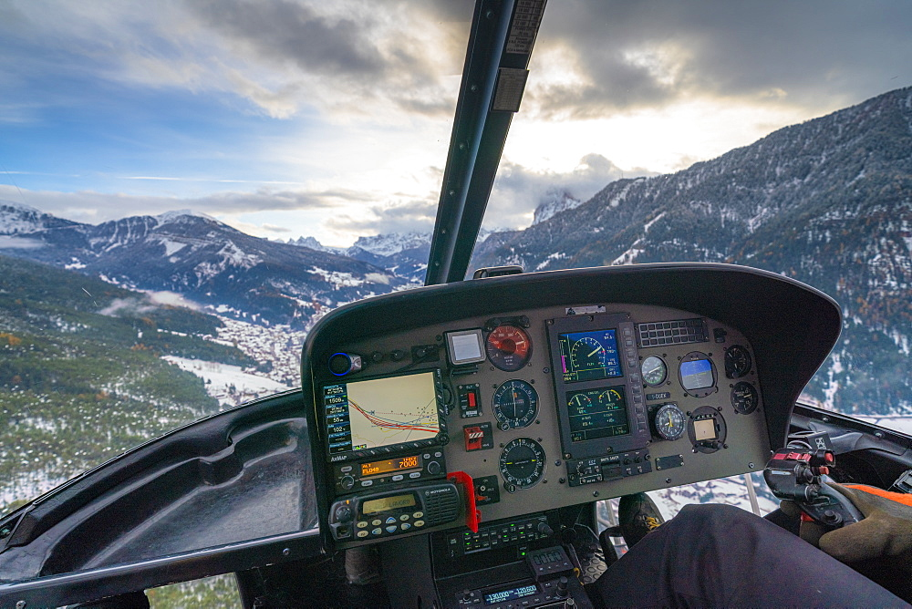 Cockpit of helicopter flying over the Dolomites, Trentino-Alto Adige, Italy, Europe