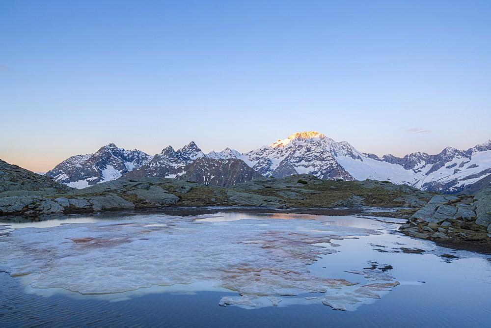 Sunrise over the snowy peak of Monte Disgrazia, Alpe Fora, Valmalenco, Sondrio province, Valtellina, Lombardy, Italy - 1179-4596