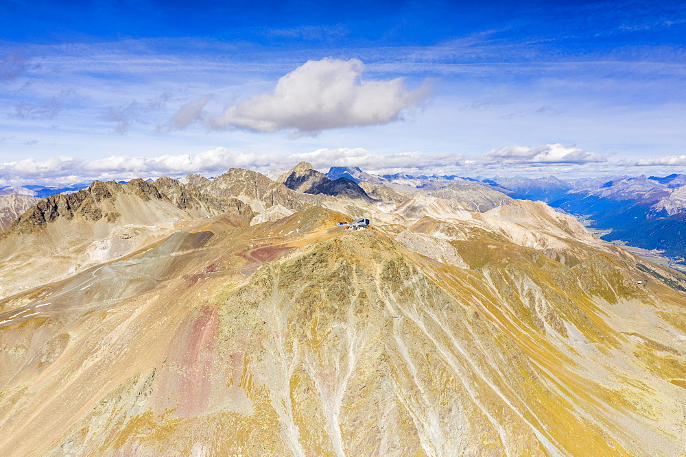 Aerial view of the majestic ridge and peak of Piz Nair in summer, Engadine, canton of Graubunden, Switzerland (drone)