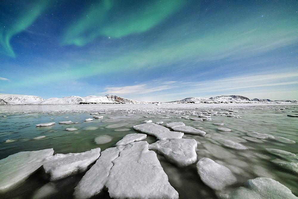 Ice blocks in the frozen Arctic sea lit by Northern Lights (Aurora Borealis), Tanamunningen Nature Reserve, Leirpollen, Troms og Finnmark, Norway, Scandinavia, Europe - 1179-4759