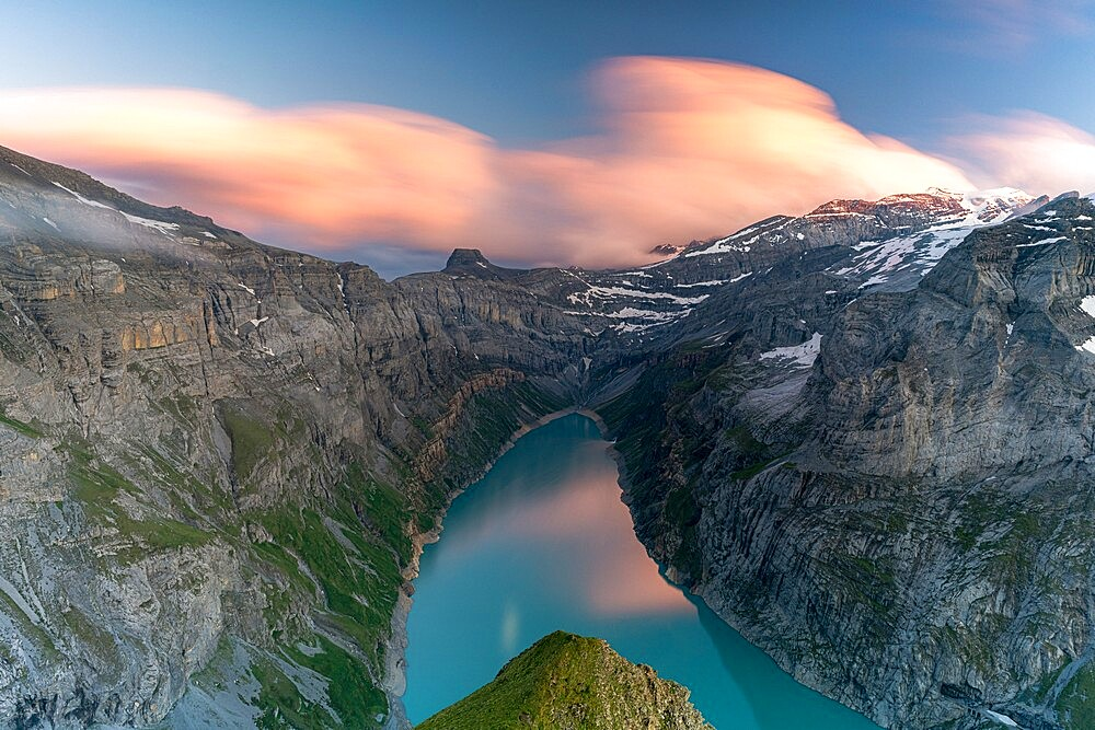 Clouds at sunset over the pristine lake Limmernsee and mountains, aerial view, Canton of Glarus, Switzerland, Europe - 1179-4940