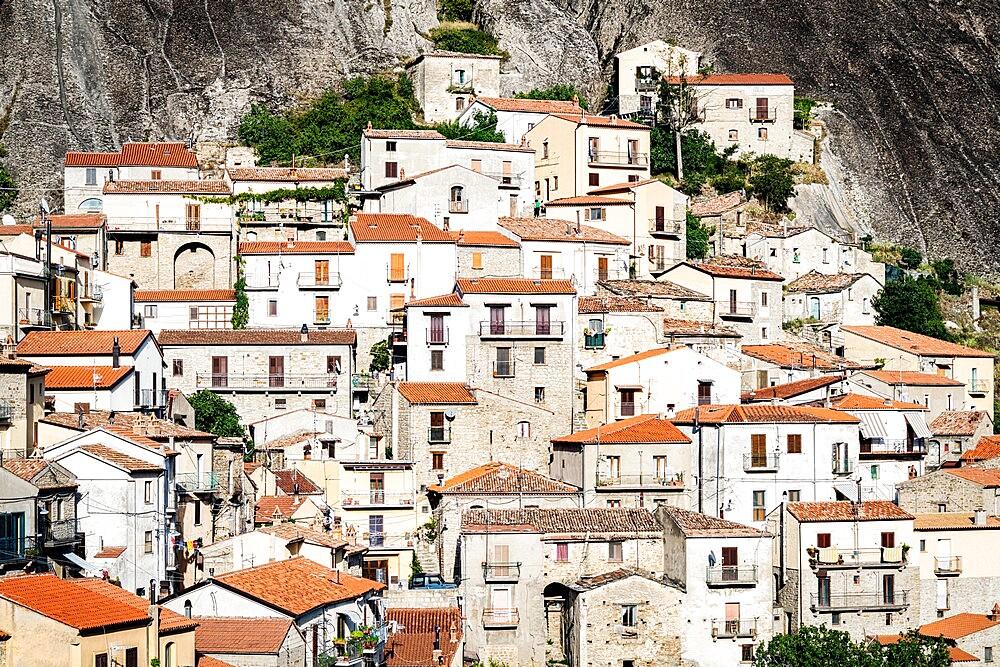 Stone houses in the medieval town of Castelmezzano, Dolomiti Lucane, Potenza province, Basilicata, Italy, Europe - 1179-4969