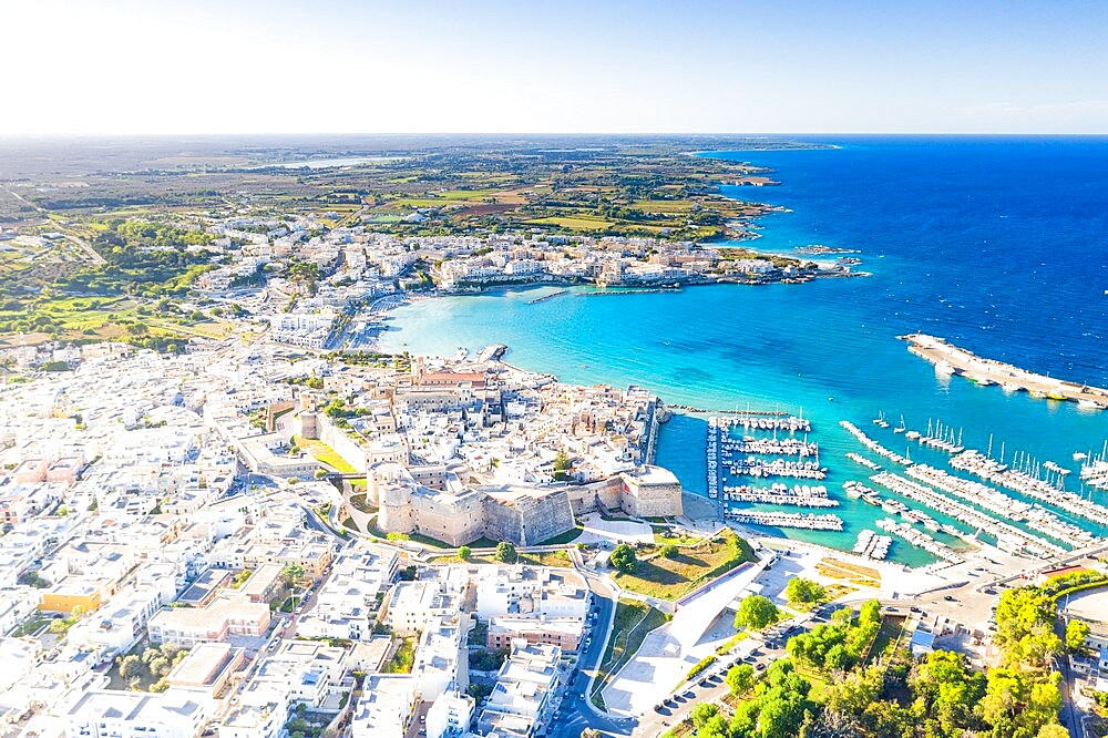 Aerial view of the coastal town of Otranto washed by the turquoise sea, Salento, Lecce province, Apulia, Italy, Europe - 1179-4972