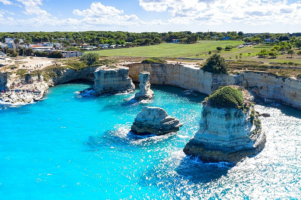 Faraglioni of Torre Sant'Andrea and cliffs framed by turquoise sea, Lecce province, Salento, Apulia, Italy, Europe - 1179-4976