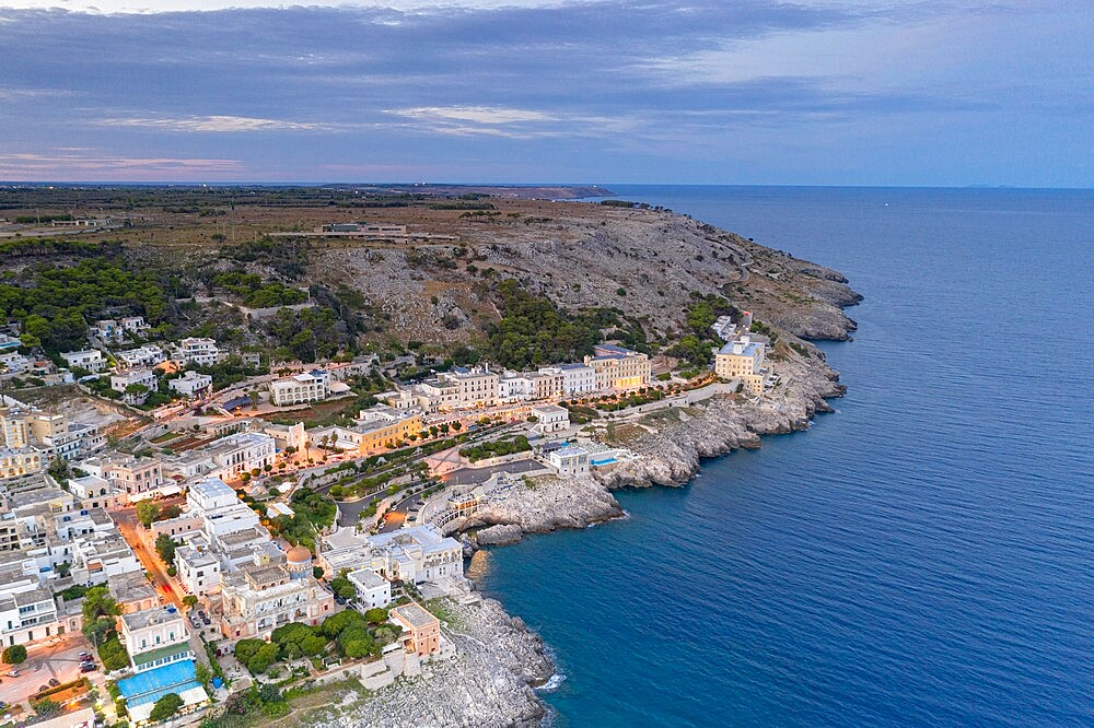 Aerial view of Santa Cesarea Terme at sunset in summer, Lecce province, Salento, Apulia, Italy, Europe - 1179-4981