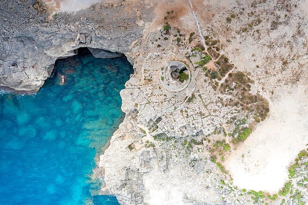 Old stone tower Torre Miggiano and turquoise sea from above, Santa Cesarea Terme, Porto Miggiano, Lecce, Salento, Apulia, Italy, Europe - 1179-4982