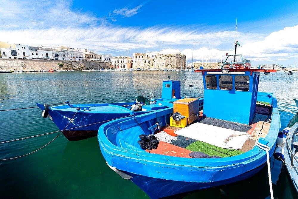 Fishing boats moored in the harbor, Gallipoli, Lecce province, Salento, Apulia, Italy, Europe - 1179-4987