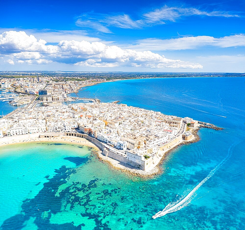White sand beach washed by the turquoise sea surrounding Gallipoli, aerial view, Lecce province, Salento, Apulia, Italy, Europe - 1179-4990